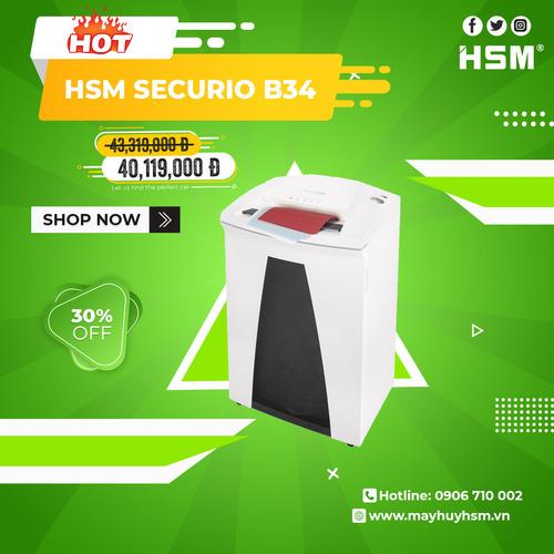 Máy Hủy Giấy HSM Securio B34 1,9x15mm - Hình 1
