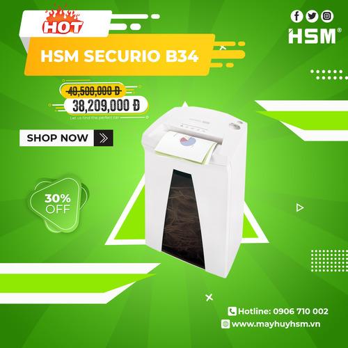 Máy Hủy Giấy HSM Securio B34 4,5x30mm - Hình 1