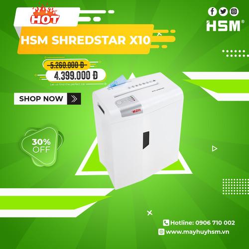Máy hủy giấy HSM Shredstar X10 4,5x30mm - Hình 1
