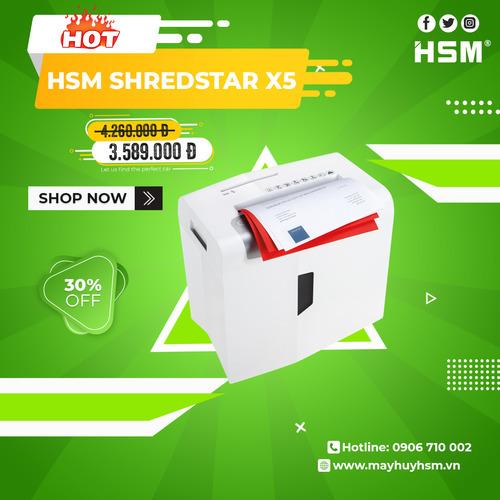 Máy hủy giấy HSM Shredstar X5 4,5x30mm - Hình 1