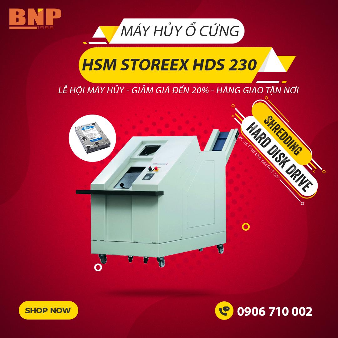 Giới thiệu sản phẩm:Máy hủy ổ đĩa cứng HSM StoreEx HDS 230 - 20 x 40-50mm