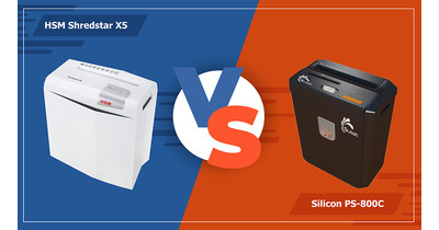 So sánh máy hủy tài liệu HSM Shredstar X5 & Silicon PS-800C
